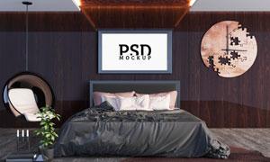 卧室床头上方的装饰画贴图分层模板