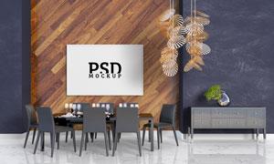 木质墙壁上的装饰挂画贴图分层模板