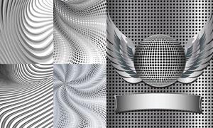 圓點與曲線等元素抽象背景矢量素材