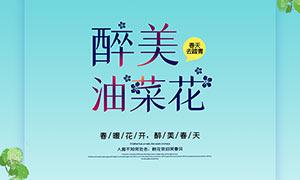 春季油菜花季旅游宣传海报PSD素材