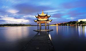 西湖十景之湖滨晴雨夜景摄影图片