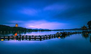 雷峰夕照美丽夜景高清摄影图片