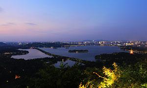 杭州西湖美丽夜景高清摄影图片
