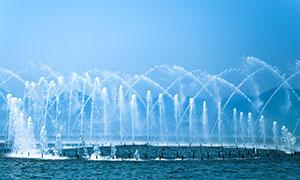 西湖喷溅美景高清摄影图片