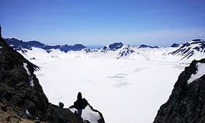 长白山天池冬季雪景摄影图片