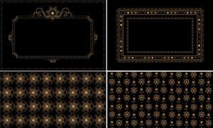 金色邊框與幾何圖形等設計矢量素材