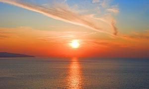 海上美丽的日出景观摄影图片