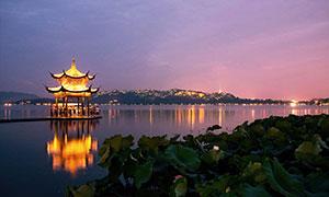 西湖集贤亭美丽夜景摄影图片