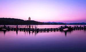 雷峰夕照美景攝影圖片