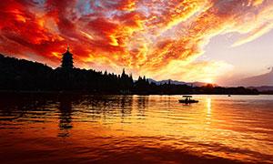 西湖美景和雷峰夕照摄影图片