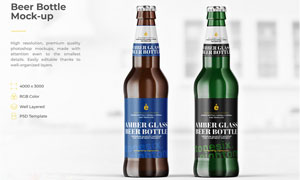 玻璃材质啤酒瓶外包装效果贴图模板