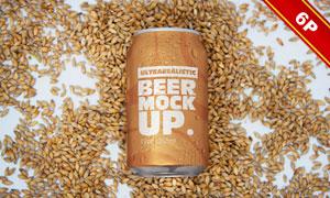 不同容量规格的啤酒罐包装样机模板