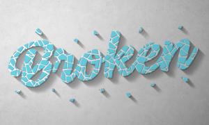 藍色裂紋質感立體文字效果貼圖模板