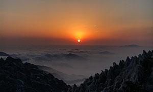 黃山日落攝影圖片