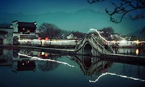 安徽宏村美麗夜景攝影圖片