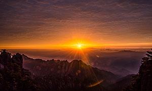 黃山日出美景攝影圖片