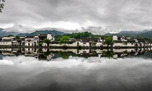 美麗宏村全景圖攝影圖片