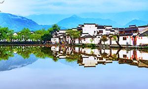 宏村建筑美景攝影圖片
