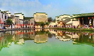 宏村景區全景攝影圖片