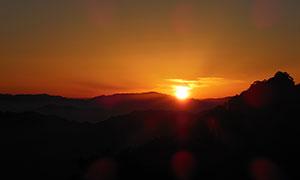 美麗的黃山夕陽美景攝影圖片