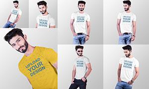 男士短袖恤衫图案印刷效果贴图模板