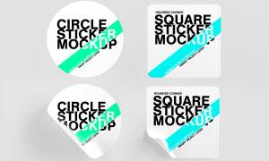 卷邊效果圓形圓角標簽樣機模板素材
