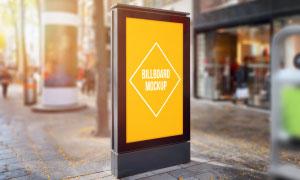 街边竖立的户外广告牌贴图模板素材