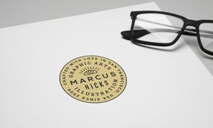 紙張上的標志印戳質感效果貼圖模板