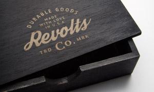 木盒上的標志圖案印刷效果樣機模板