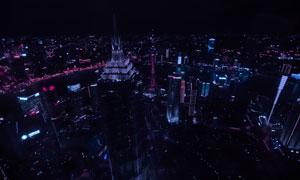江水兩岸城市夜景鳥瞰攝影高清圖片