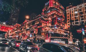 重庆的洪崖洞景区繁华夜景高清图片