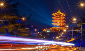 城市夜景与黄鹤楼景观照明高清图片
