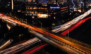 深圳滨海腾讯大厦夜景航拍摄影图片