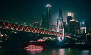 重庆千厮门嘉陵江大桥夜景风光图片