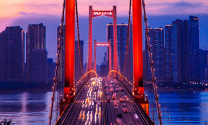 鹦鹉洲长江大桥夜景长曝光摄影图片