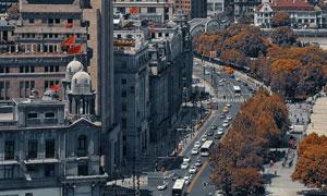 上海外滩的万国建筑群航拍高清图片