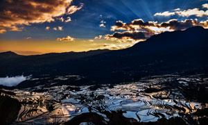 太阳落山时分梯田风光摄影高清图片