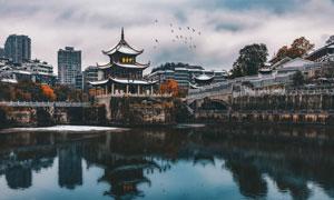 贵阳南明河上的甲秀楼摄影高清图片
