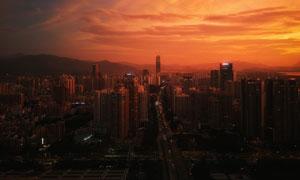 黄昏暮光之城建筑鸟瞰摄影高清图片