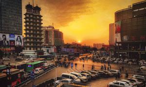 郑州二七广场黄昏风光摄影高清图片