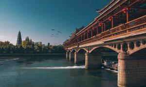 贵州都匀百子桥文峰塔风光摄影图片