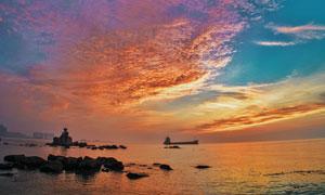 海天一色晚霞自然风光摄影高清图片