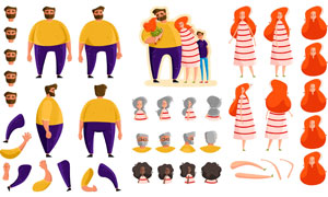 扁平化风格的家庭人物创意矢量素材