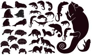 黑白风格海象海龟与蜥蜴等矢量素材