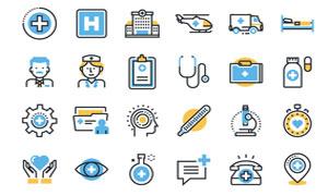 医生护士与医院等医疗图标矢量素材