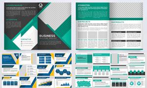 简洁风格画册封面内页版式矢量素材