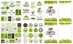 绿色茶叶元素标签主题设计矢量素材