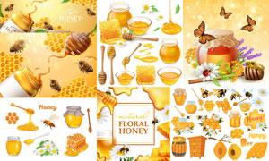鲜花蜜蜂与蜂蜜广告等主题矢量素材