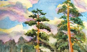 天空下的兩棵松樹繪畫創意高清圖片