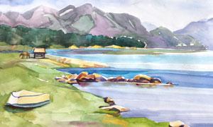 湖光山色水彩繪畫創意設計高清圖片